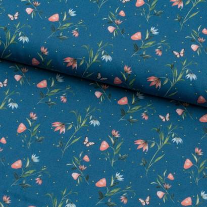 Tela de algodón satinado flores lomo