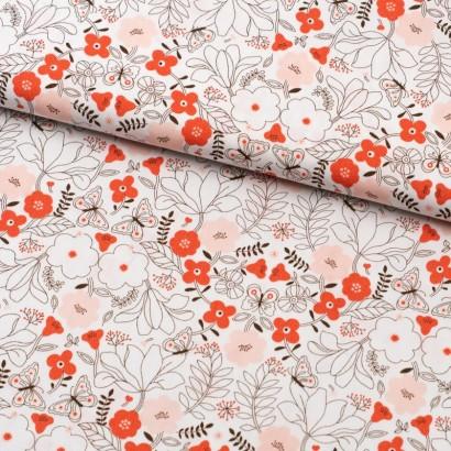 Tela de algodón flores japonesas lomo