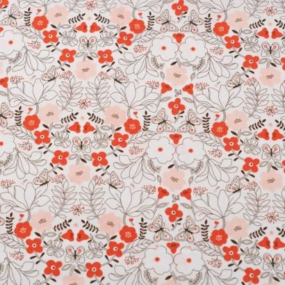 Tela de algodón flores japonesas lisa