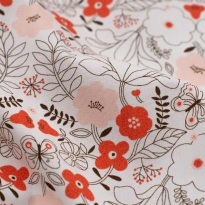 Tela de algodón flores japonesas detalle