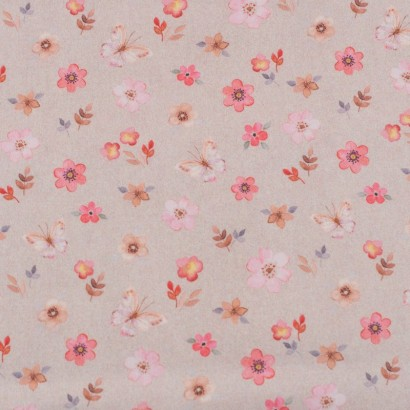 Tela de algodón flores y mariposas lisa