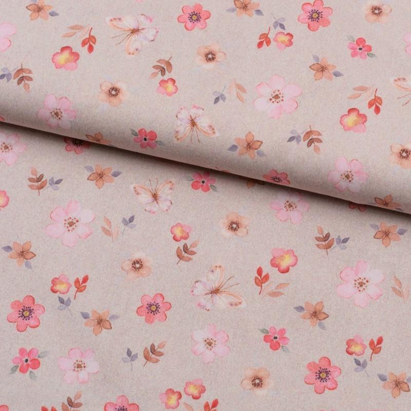 Tela de algodón flores y mariposas lomo