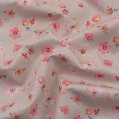 Tela de algodón flores y mariposas arrugada