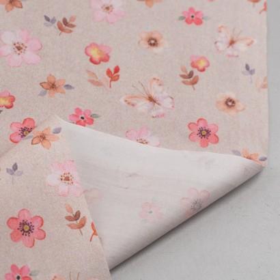 Tela de algodón flores y mariposas reves
