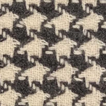 Tela de paño pata de gallo blanca y gris 3