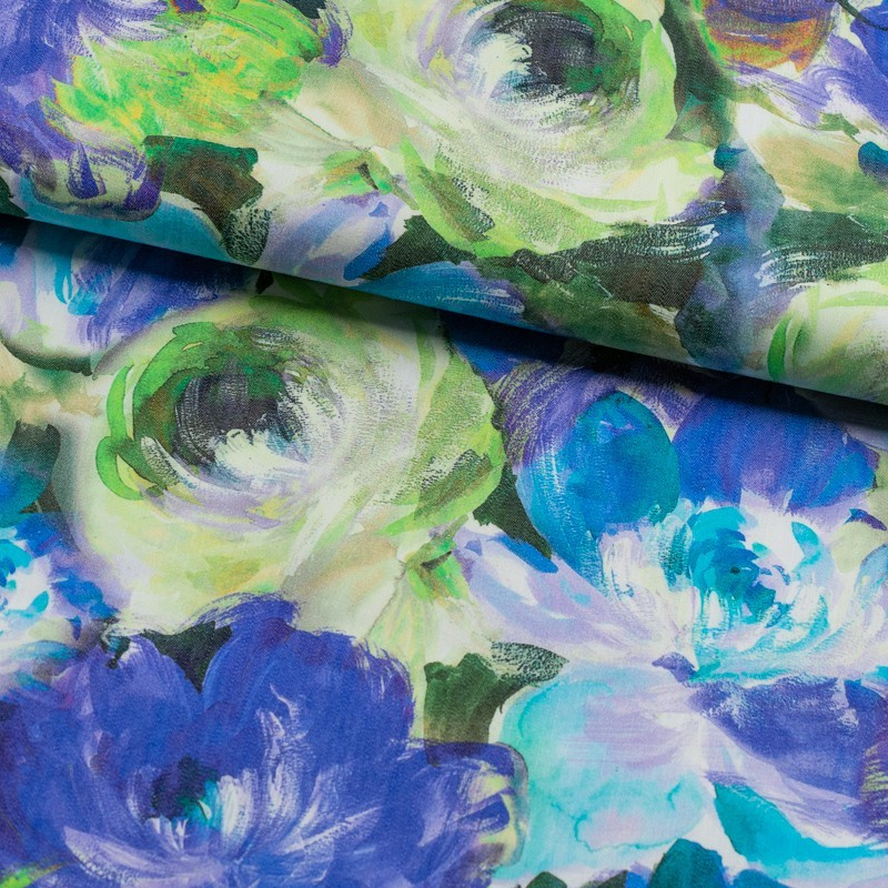Tela de algodón estampado floral lomo