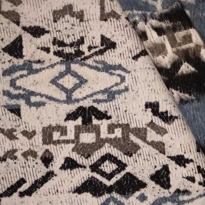 Tela de paño étnica en azules arrugada 2