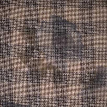 Tela de paño cuadro beis flor azul 1