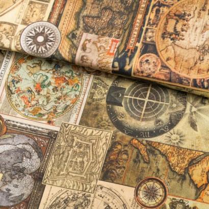 Tela de loneta con mapas lomo