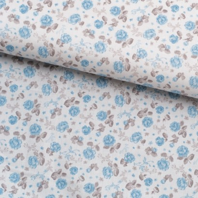 Tela de sábana flor azul y gris lomo