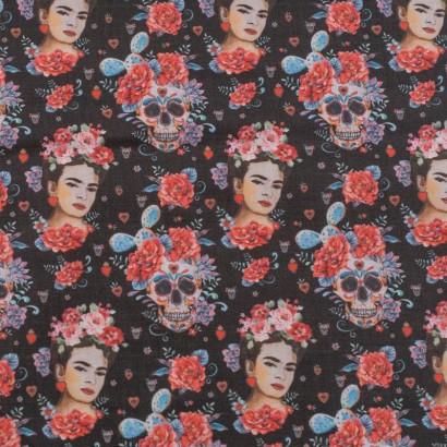 Tela de algodón Frida Kahlo y calaveras lisa