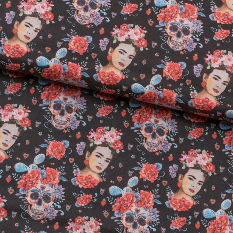 Tela de algodón Frida Kahlo y calaveras lomo