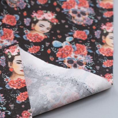 Tela de algodón Frida Kahlo y calaveras reves