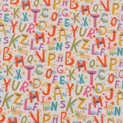 Tela de algodón con letras lisa
