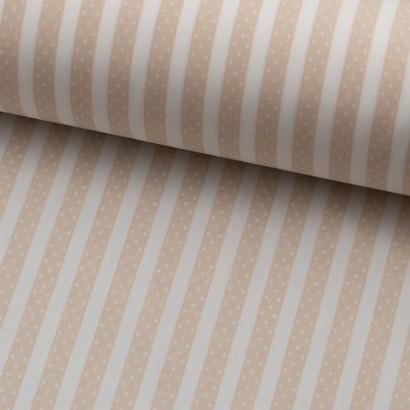 Tela de algodón rayas con topos lomo