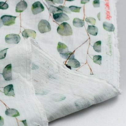 Tela de muselina hojas eucalipto reves