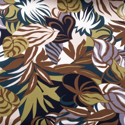 Tela de crepé hojas tropicales lisa