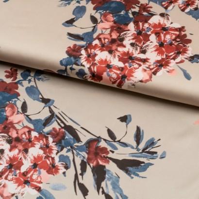 Tela de seda flores en ramas lomo