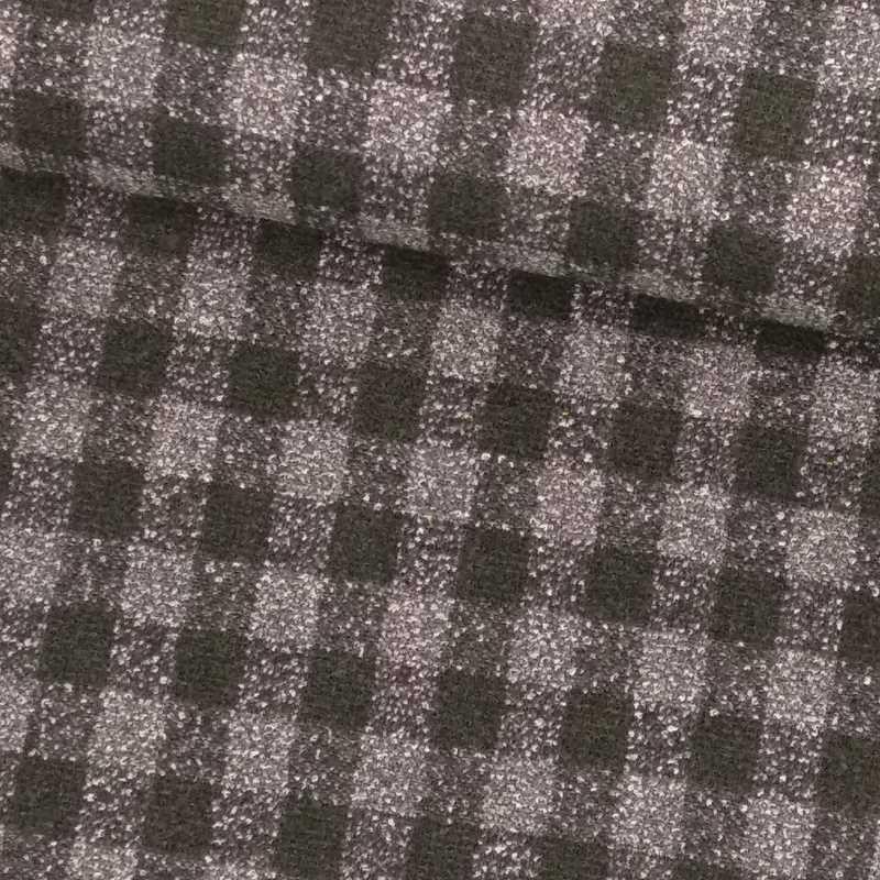 Tela de paño cuadro pequeño negro y gris tubo