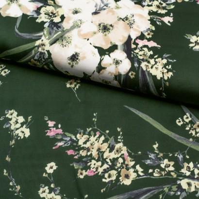 Tela de viscosa satinada flores lomo