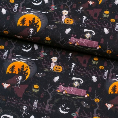 Tela de algodón estampado halloween lomo
