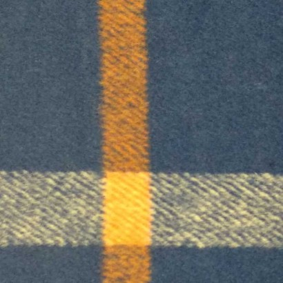 Tela de paño azul con cuadros blancos y naranjas 1