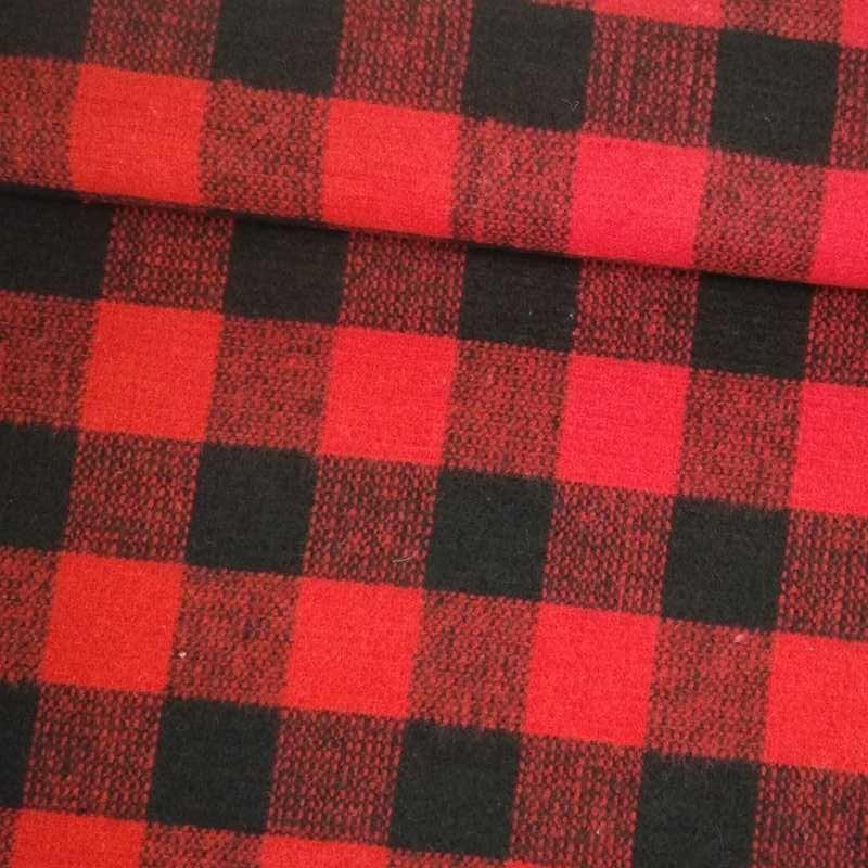 Tela de paño cuadro negro y rojo tubo
