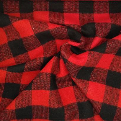Tela de paño cuadro negro y rojo arrugada