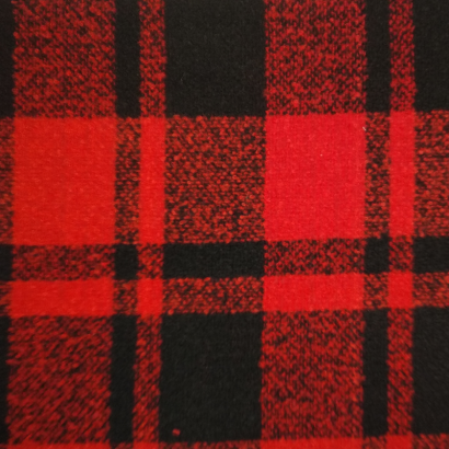 Tela de paño cuadro doble negro y rojo 1