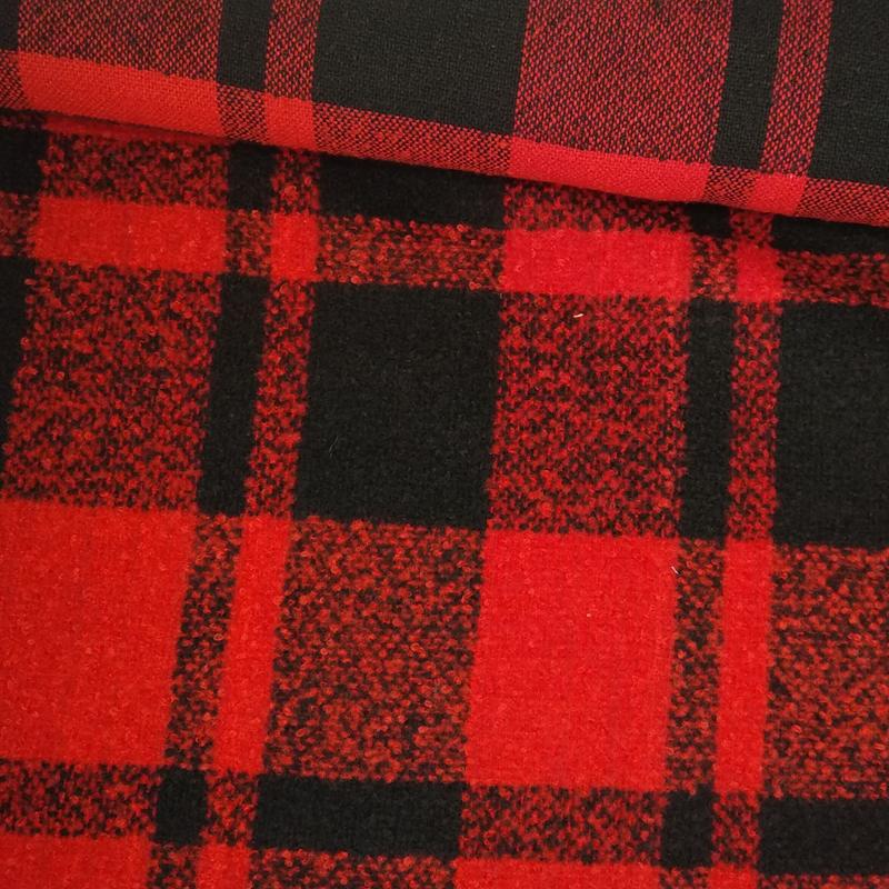 Tela de paño cuadro doble negro y rojo tubo