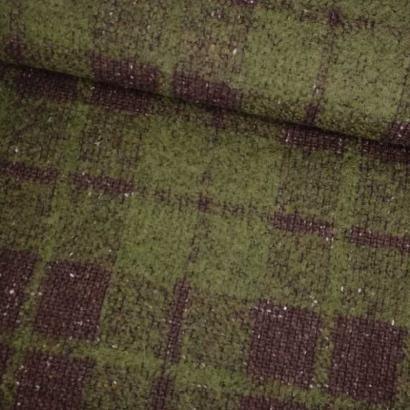 Tela de paño cuadros marrón y verde tubo