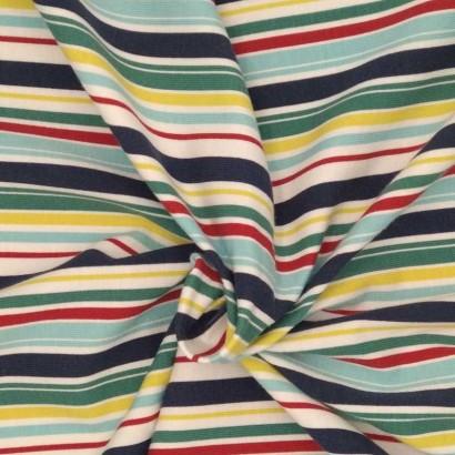 Tela de punto rayas de colores arrugada