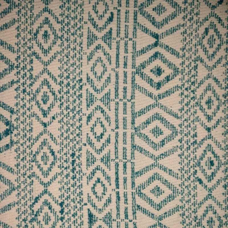 Tela de algodón étnico verde y blanco