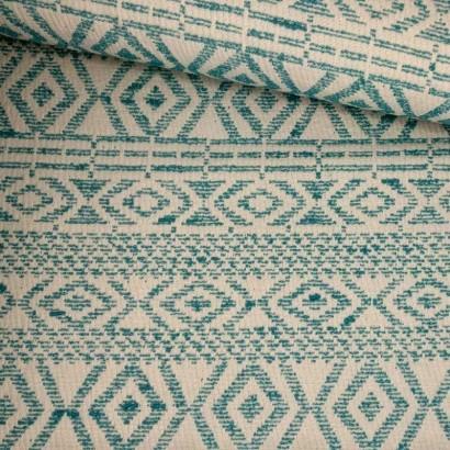 Tela de algodón étnico verde y blanco tubo