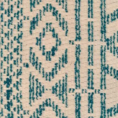Tela de algodón étnico verde y blanco 1