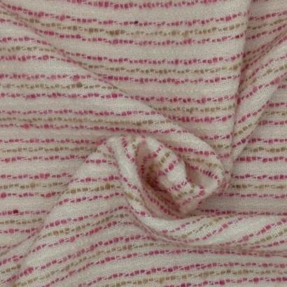 Tela de algodón raya rosa y mostaza arrugada