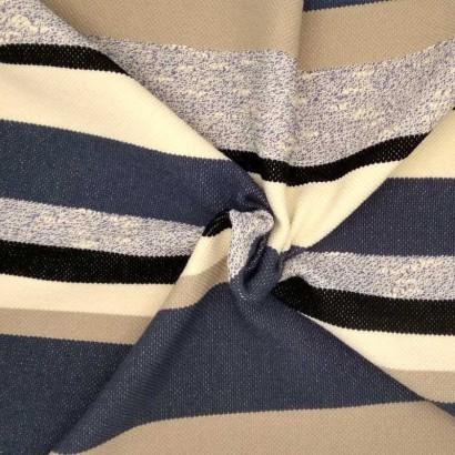 Tela de punto raya azul, beis y gris arrugada