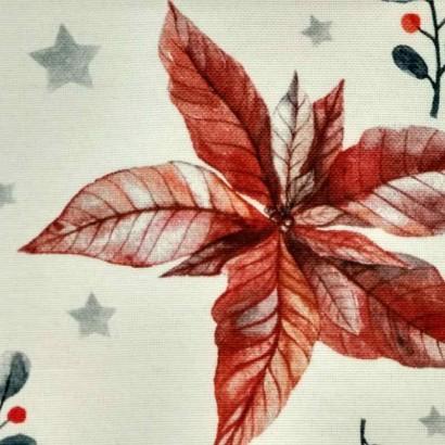 Tela navideña blanca con flores azules y rojas 2