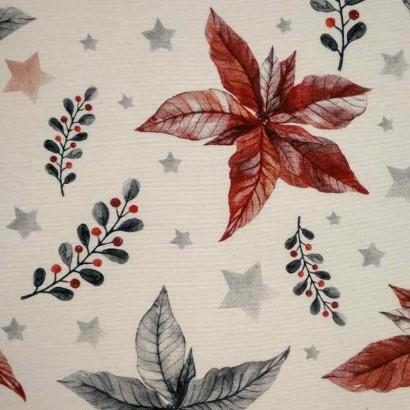 Tela navideña blanca con flores azules y rojas