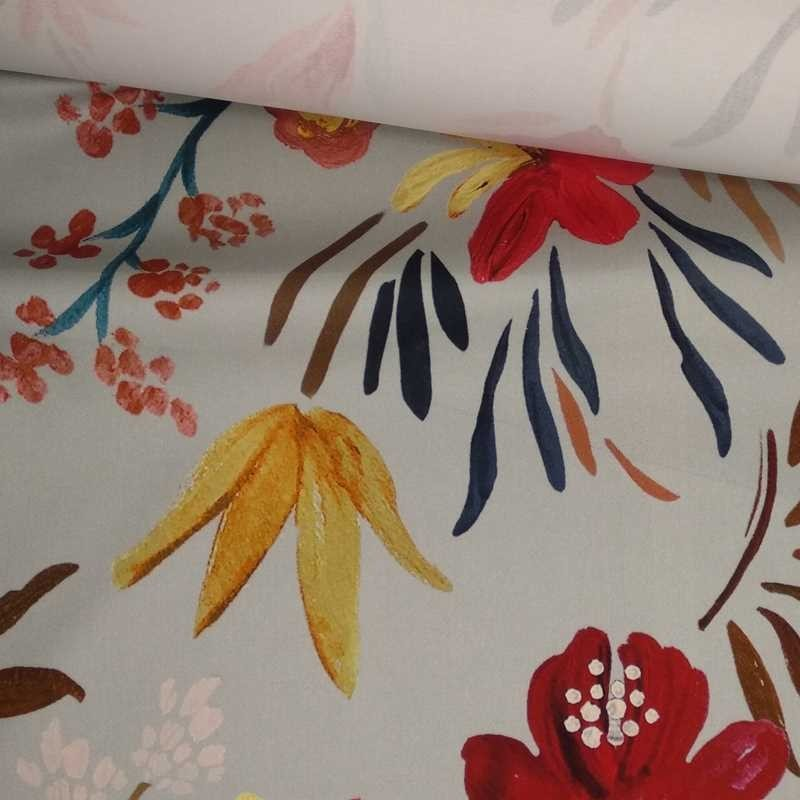 Tela de algodón gris flores tubo
