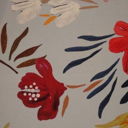 Tela de algodón gris flores 2