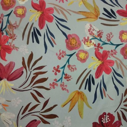 Tela de algodón gris flores 1