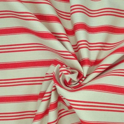 Tela de algodón cruda raya roja arrugada