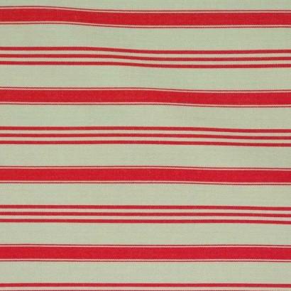 Tela de algodón cruda raya roja 1