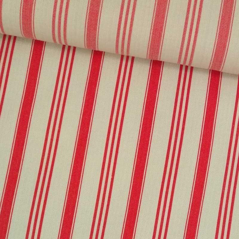 Tela de algodón cruda raya roja tubo
