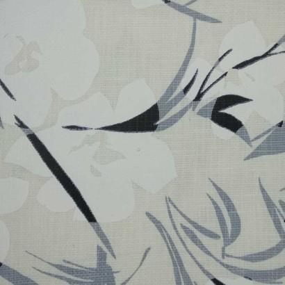 Tela de algodón blanca con flores blancas 1
