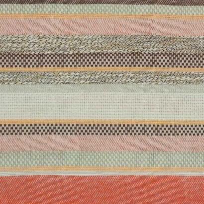 Tela de algodón de rayas de naranjas y beises 1