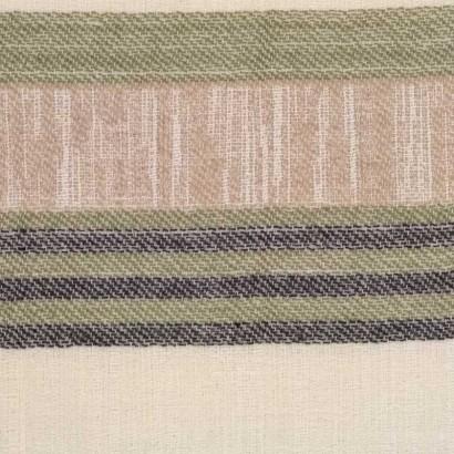 Tela de algodón de rayas verde y beige 2