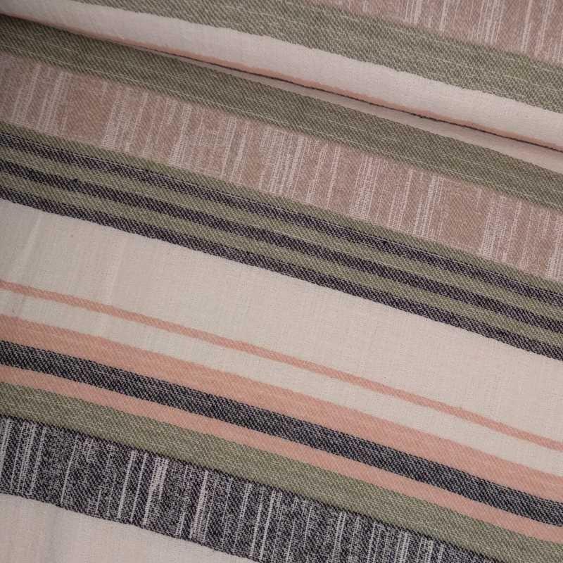 Tela de algodón de rayas verde y beige tubo