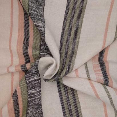 Tela de algodón de rayas verde y beige arrugado